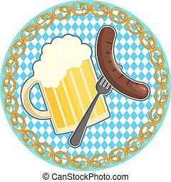 Oktoberfest symbol with beer and sausage on round bavarian flag background
