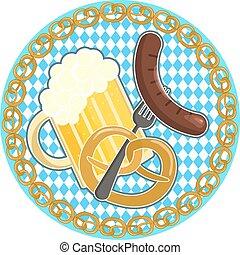 Oktoberfest symbol with beer, sausage and pretzel on round bavarian flag background