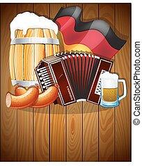Oktoberfest symbols on a wooden background
