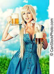 oktoberfest, tazze, due, birra, presa a terra, sexy, ragazza