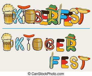 oktoberfest, testo, illustrazione, isolato, lettersl., vettore, birra, disegno, bianco