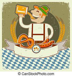 oktoberfest, texto, papel, etiqueta, viejo, ilustración, ...