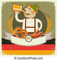 oktoberfest, texto, papel, viejo, ilustración, posterl, hombre, beer., vector, alemán, vendimia