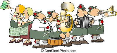 Oktoberfest - This illustration depicts a German band and ...