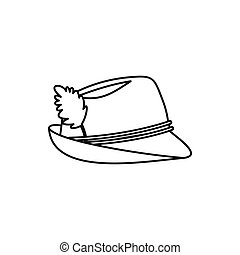 Oktoberfest tirol hat icon, outline style - Oktoberfest...