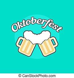 oktoberfest, toby, jarros, ícone