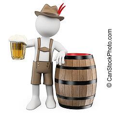 oktoberfest., trumma, man, folk., öl, 3, vit