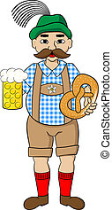 oktoberfest, uomo, con, birra, e, pretzel