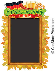 oktoberfest, vector, blackboard., plantilla, menú