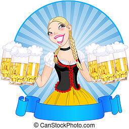 Vector illustration of funny German girl serving beer