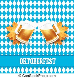 Oktoberfest vector illustration. Two beer mugs on the background