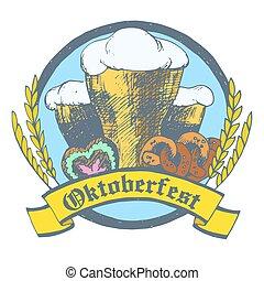 Oktoberfest vector illustration with beer glasses, pretzels,...