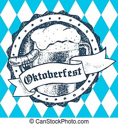 Oktoberfest vector illustration with beer mug, sausage, rhombus