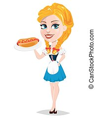 Oktoberfest vector illustration with sexy redhead girl holding hot dog. Cartoon character standing half turned.