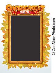 oktoberfest, vector., szöveg, sablon, étrend, -e