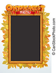 oktoberfest, vector., testo, sagoma, menu, tuo