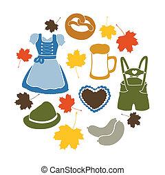 oktoberfest, vetorial, elementos
