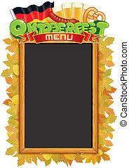 oktoberfest, vettore, blackboard., sagoma, menu