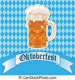 oktoberfest, vidro cerveja