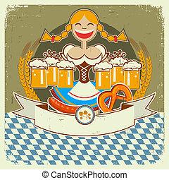 oktoberfest, vieux, vendange, symbole, texture, étiquette, bière, papier, texte, girl