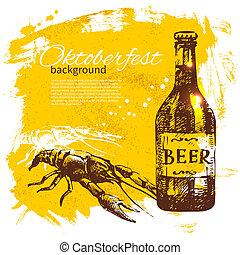 oktoberfest, vinobraní, grafické pozadí., rukopis, nahý, illustration., pivo, kaluž, kapka, za, design, menu