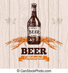 Oktoberfest vintage background. Beer hand drawn illustration. Menu design
