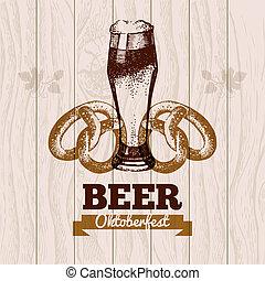 Oktoberfest vintage background. Beer hand drawn...
