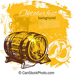 Oktoberfest vintage background. Hand drawn illustration. Beer splash blob retro design menu