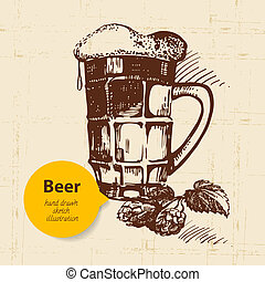 Oktoberfest vintage background. Hand drawn illustration. Retro design with beer