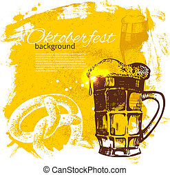 Oktoberfest vintage background. Hand drawn illustration. Splash blob retro design with beer
