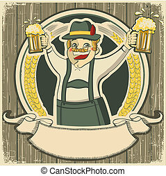 oktoberfest .Vintage label with man and glasses of beer on old background texture