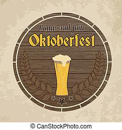Oktoberfest, vintage poster on wooden barrel background,...