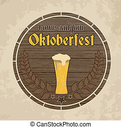 Oktoberfest, vintage poster on wooden barrel background,...