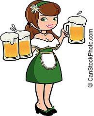 Oktoberfest waitress serving beer. Vector illustration