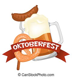 Oktoberfest. Welcome to beer festival. Invitation flyer or...