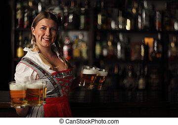 Oktoberfest woman with beer - Pretty oktoberfest blonde...