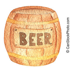 Oktoberfest wooden barrel brown with the inscription beer. Hand drawn watercolor painting on white background clip art graphic elements for creative design and printable decor.