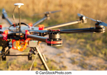 Oktokopter, copter, drone - The Engine copter. UAV in flight...