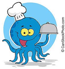 oktopus, küchenchef, dienende speise
