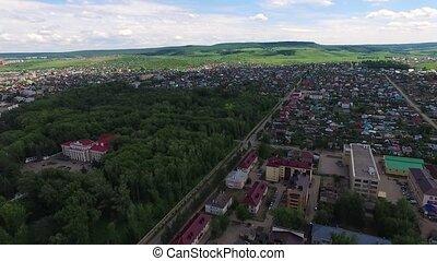 Oktyabrsky city, aerial view. Bashkortostan