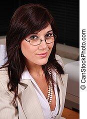 okular, ładny, sekretarka