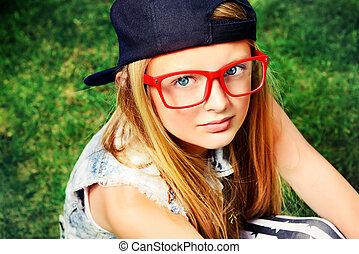 okular, czerwony