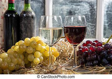 okulary, białe tło, butelki, wino, winogrono, czerwony