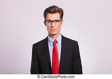 okulary, człowiek, młody, handlowy, przystojny