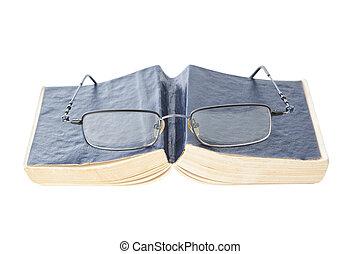 okulary, książka, closeup.