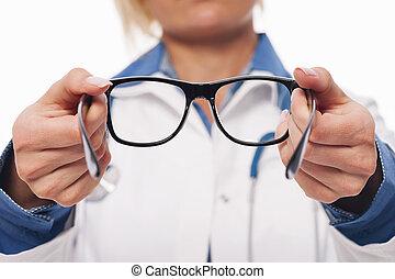 okulary, optometra, samica, nowy, udzielanie