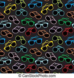 okulary, przybory, seamless, słońce