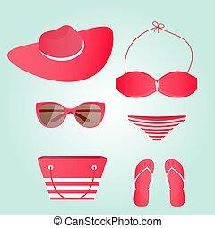 okulary, trzepnięcie, zbiór, kostium kąpielowy, flops., kapelusz, plażowa torba, kobiety