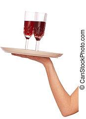 okulary, trzy, champaigne