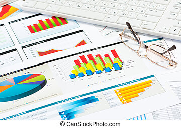 okulary, wykresy, handlowy, papiery